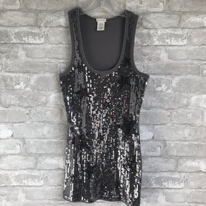 Maurices Women's Gray Sequin Star Tank Top Size M